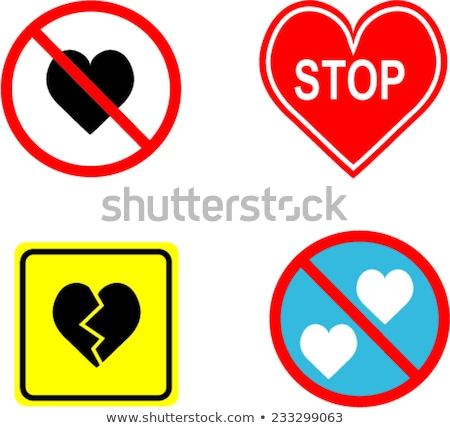 no loving sign vector illustration composition with the heart and the road sign stop stock photo © hermione