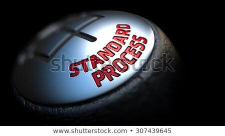 Standart süreç siyah dişli kırmızı metin Stok fotoğraf © tashatuvango