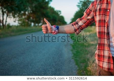 jovem · caucasiano · homem · pôr · do · sol · turista · grama - foto stock © master1305