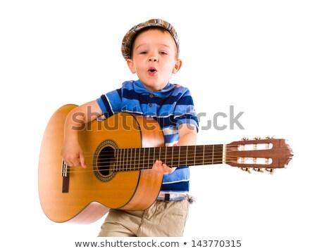 feliz · guitarra · menino · jogar · casa - foto stock © nyul