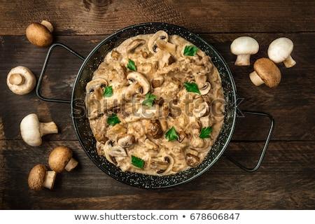 牛肉 · 卵 · 麺 · ワイン · 緑 · ディナー - ストックフォト © rojoimages