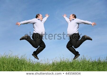 Zdjęcia stock: Jumping Fat Twins On Grass Collage