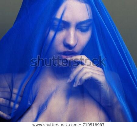 szexi · szőke · nő · modell · fátyol · fekete · magas - stock fotó © jrstock