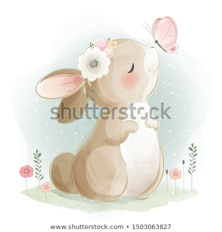 Cute lapin carte carré carte de vœux cartoon Photo stock © zsooofija