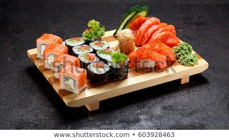 sushi · piatto · fresche · nero · pesce · cena - foto d'archivio © keko64