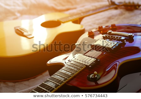 flaming · Rock · guitare · brûlant · noir · feu - photo stock © bigalbaloo