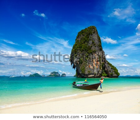 largo · cola · barco · playa · Tailandia · agua - foto stock © mikko