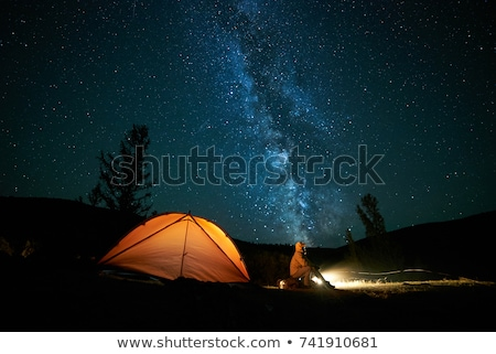 Foto stock: Laranja · camping · tenda · lua · estrelas