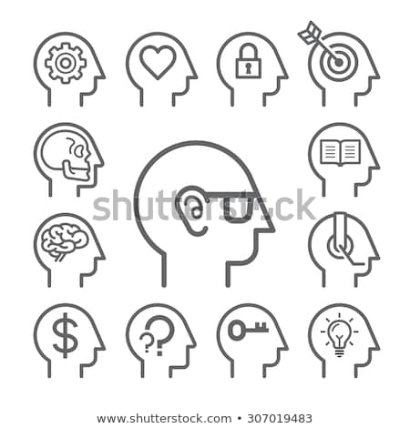 human head with dollar symbol line icon stock photo © rastudio