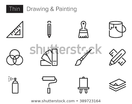 paint brush with palette line icon stock photo © rastudio
