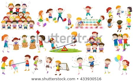 Foto stock: Crianças · jogar · humanismo · pirâmide · ilustração · escolas