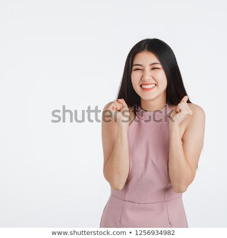 выстрел · азиатских · женщины · довольно · темно-бордовый - Сток-фото © artfotodima