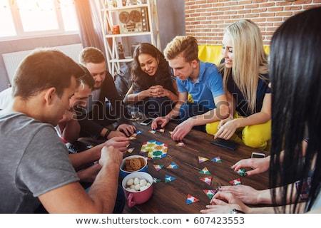 Jókedv fa asztal szó boldog gyermek háttér Stock fotó © fuzzbones0