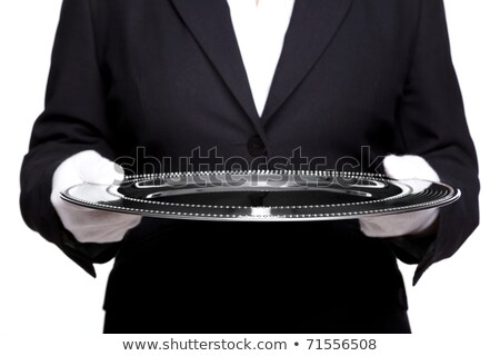 female butler holding a silver tray isolated on white stock photo © rtimages