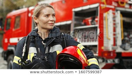 Jovem bombeiro ilustração branco homem ciência Foto stock © bluering