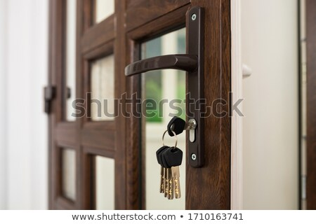 Front door key with a blue plastic tag Stock photo © adrian_n