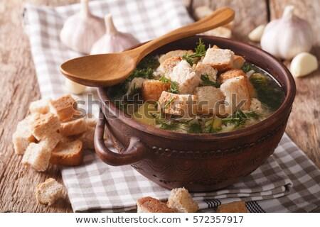 Sarımsak çorba plaka ekmek sebze yemek Stok fotoğraf © Digifoodstock