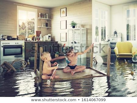 endommagé · toit · trou · tempête · bâtiment · maison - photo stock © zurijeta
