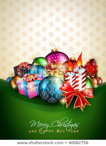 tél · izzó · lucfenyő · hó · kék · karácsony - stock fotó © davidarts