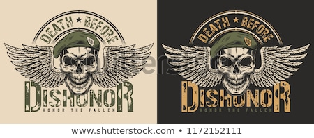 Military emblem. Army logo. Soldiers badge. Skull in beret. Wing Stock photo © popaukropa