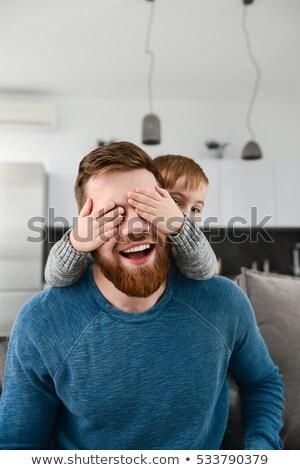 Sakallı baba oynama küçük sevimli Stok fotoğraf © deandrobot