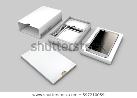 opened box package with mobile phone isolated on white background 3d illustration stock photo © tussik