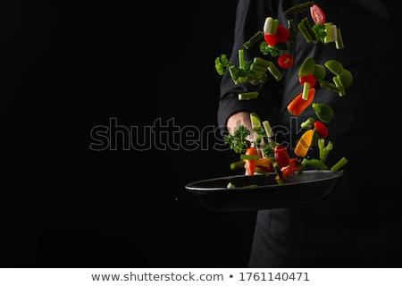 szakács · zsonglőrködés · paprikák · vicces · színek · étel - stock fotó © fisher