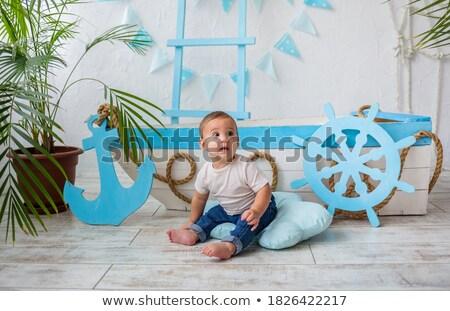 Baby pescatore zattera illustrazione acqua bambino Foto d'archivio © adrenalina