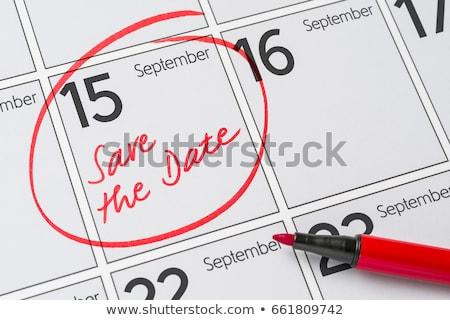 Stockfoto: Opslaan · datum · geschreven · kalender · 15 · partij