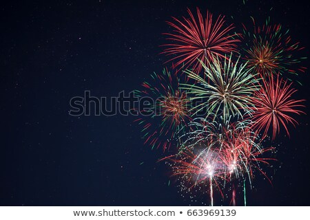 red fireworks located right side over night sky stock photo © tasipas