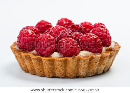 Stockfoto: Framboos · taart · vruchten · room · bakkerij