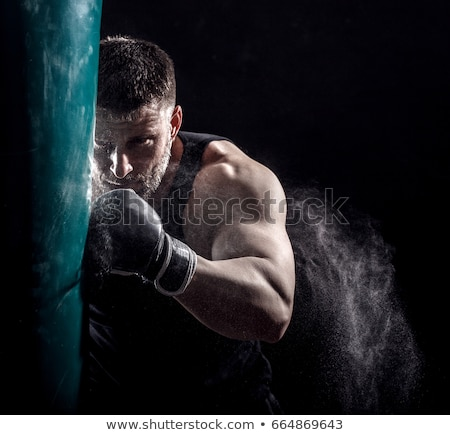 male boxer boxing in punching bag stock photo © master1305