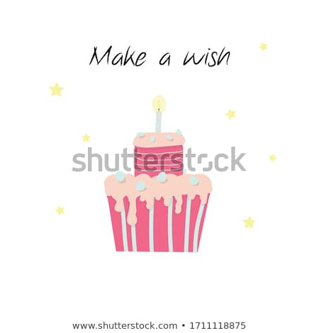 happy birthday card template with cake and lights stock photo © bluering