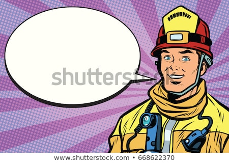 Portrait of a smiling fireman, comic book bubble Stock photo © studiostoks
