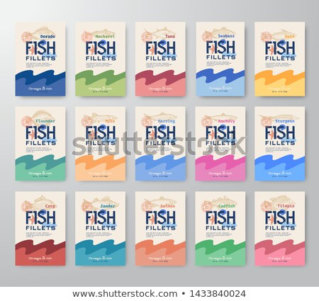 Tengeri hal bolt szalag design sablon vonal ikonok Stock fotó © Genestro