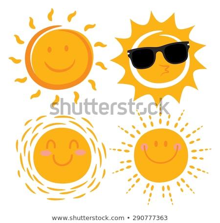 vector · Cartoon · sol · carácter · puesta · de · sol · verano - foto stock © barbaliss