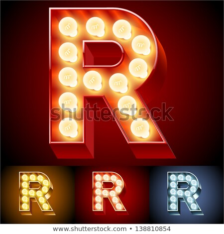 Letter R lamp glowing font. Vintage light bulb alphabet. Retro A Stock photo © popaukropa