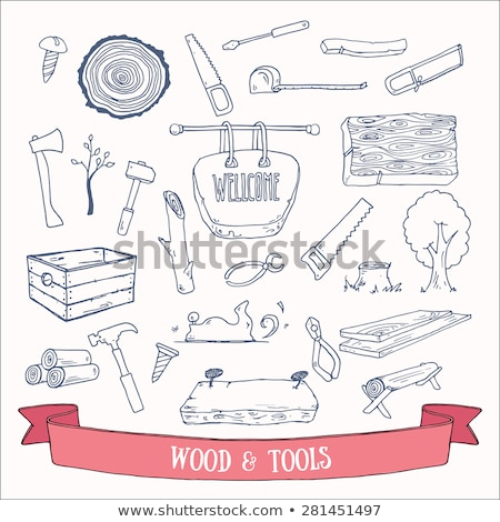 Vector Wooden Plank with Hand Tools Stock photo © dashadima