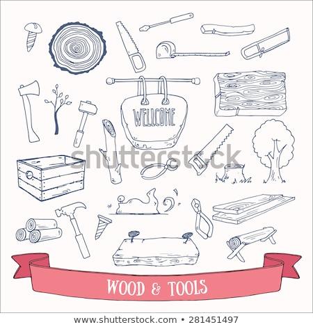 vector wooden plank with hand tools stock photo © dashadima