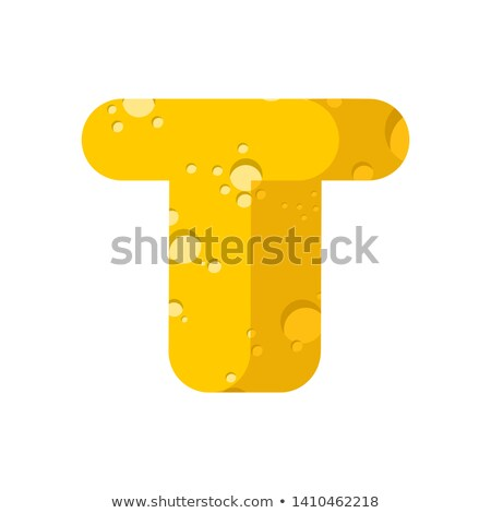 Letter T cheese font. Symbol of cheesy alphabet. Dairy Food type Stock photo © popaukropa