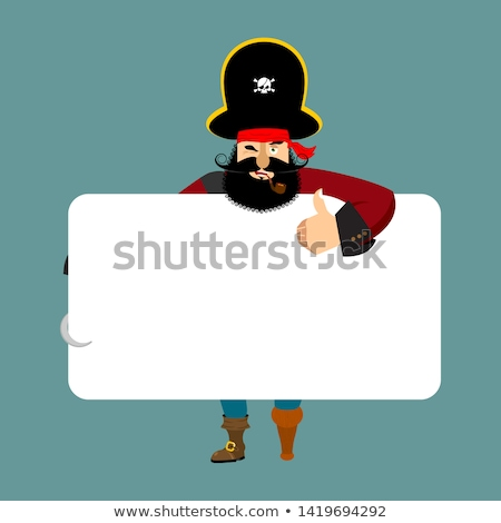 pirate holding banner blank filibuster and white blank corsair stock photo © popaukropa