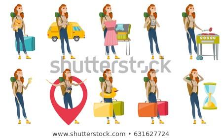 失望した 観光 2 ビッグ スーツケース ストックフォト © RAStudio