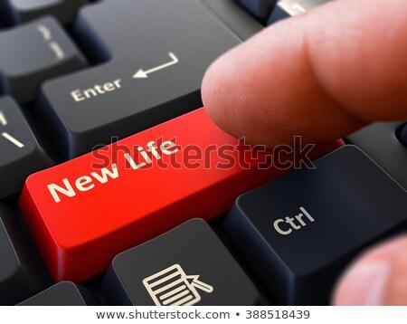 Strony palec naciśnij sen pracy przycisk Zdjęcia stock © tashatuvango