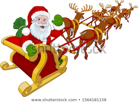 Santa Claus Christmas Reindeer and Sled Sleigh  Stock photo © Krisdog