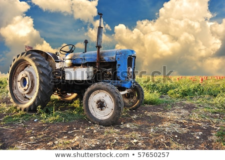 oude · boerderij · trekker · grasveld · klaar · borgtocht - stockfoto © zurijeta
