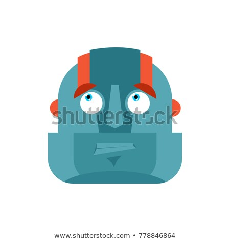 Robot confused emoji oops face avatar. Cyborg perplexed emotions Stock photo © popaukropa