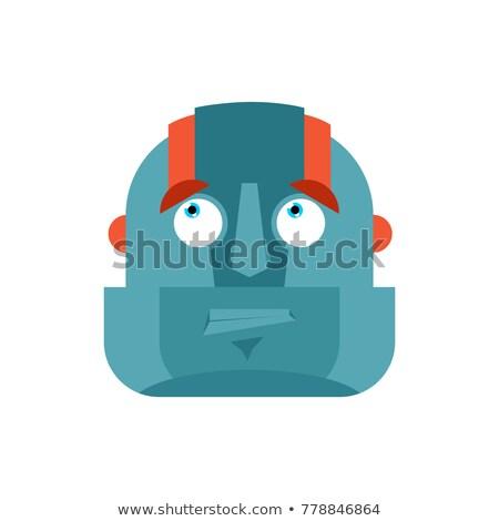 robô · cabeça · isolado · cyborg · cara · metal - foto stock © popaukropa