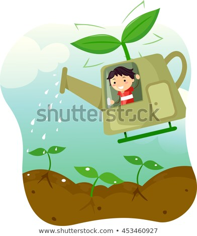 Stickman Kid Boy Watering Can Helicopter Stock photo © lenm