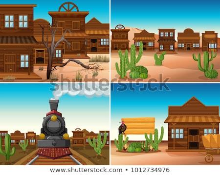 Cuatro occidental edificios tren ilustración paisaje Foto stock © bluering