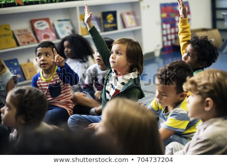 Foto stock: Menina · jardim · de · infância · classe · crianças · criança · estudante